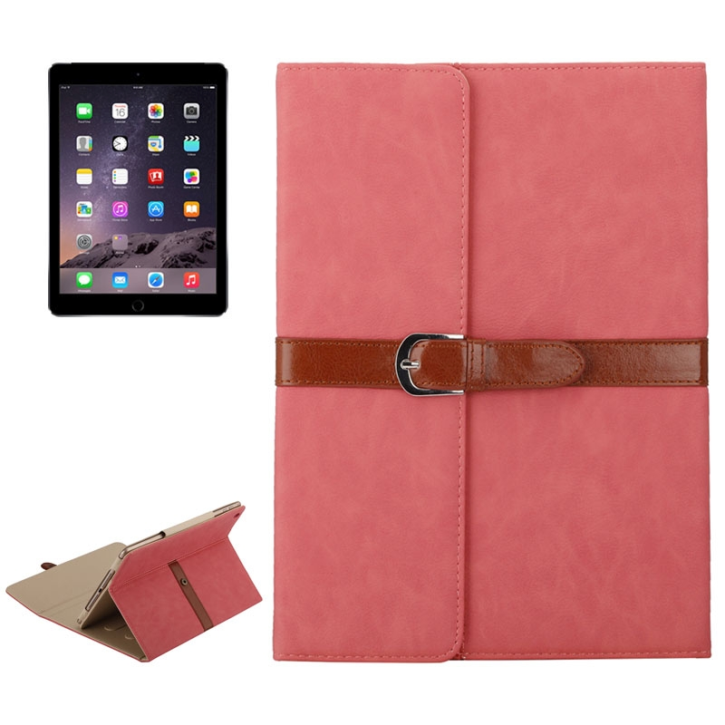 Business Style Leather iPad Air Case 1/2, iPad 5/6, With Tri-Fold Holder & Buckle (Pink)
