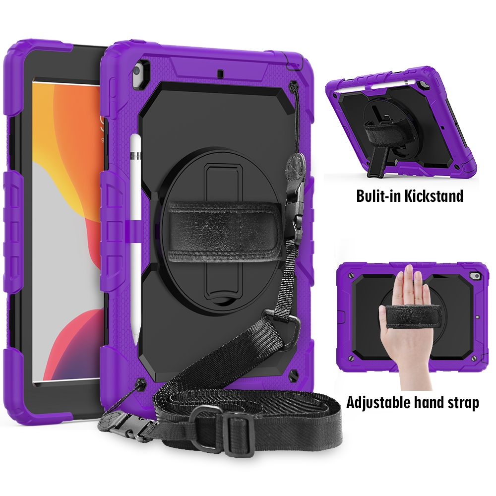 Shockproof iPad 7th Generation Case (10.2 Inch) Durable Protective Case, Strap & Pen Holder (Purple)