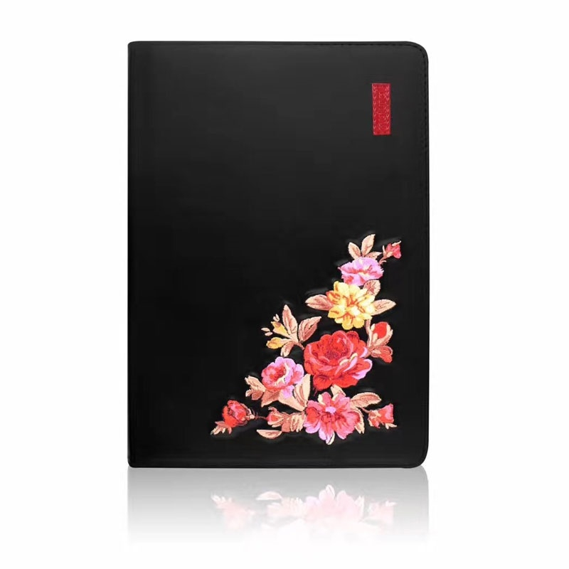 Floral Trendy Leather iPad Air 2 Case (9.7 Inch), iPad 9.7 (2018), iPad Air, Auto Sleep (Black)