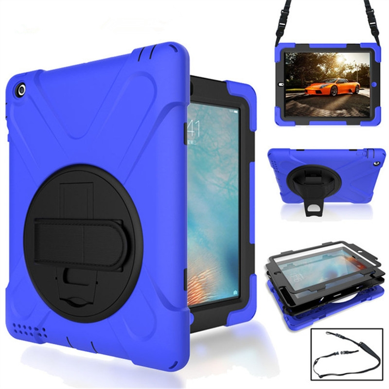 iPad 6 Case/iPad Air 2 Case With Rotating Silicone Protective Casing, Strap and Longer Strap (Blue)