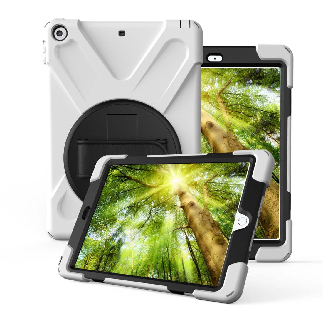 iPad 7th Generation Case (10.2 Inch) With A Protective Rotatable Design And Hand Strap (White)