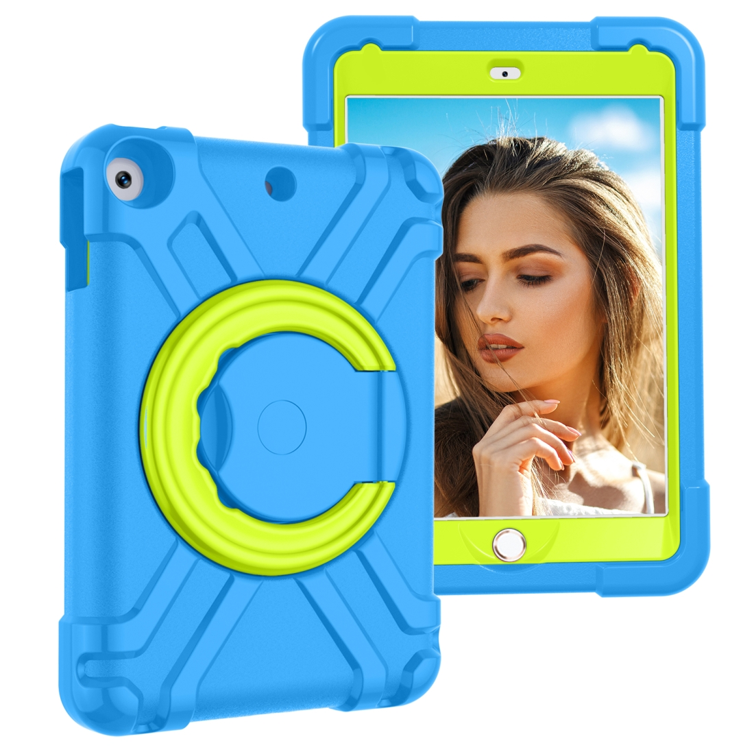 iPad 7th Generation Case (10.2 Inch) Featuring A Durable Case With 360 Rotation (Green/Blue)