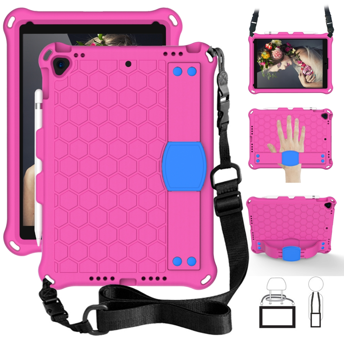 iPad 7th Generation Case (10.2 Inch) Honeycomb Design Shockproof Protective Case (Rose Red)