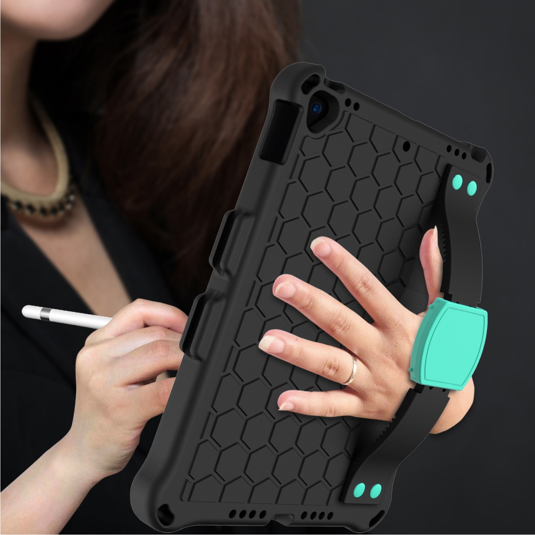 iPad 7th Generation Case (10.2 Inch) Honeycomb Design Shockproof Protective Case (Mint Green)