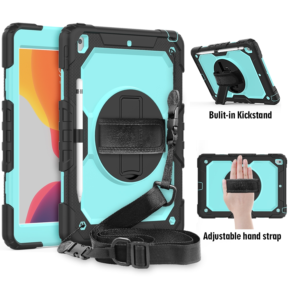 Shockproof iPad 7th Generation Case (10.2 Inch) Durable Case, Strap & Pen Holder (Black/Blue)
