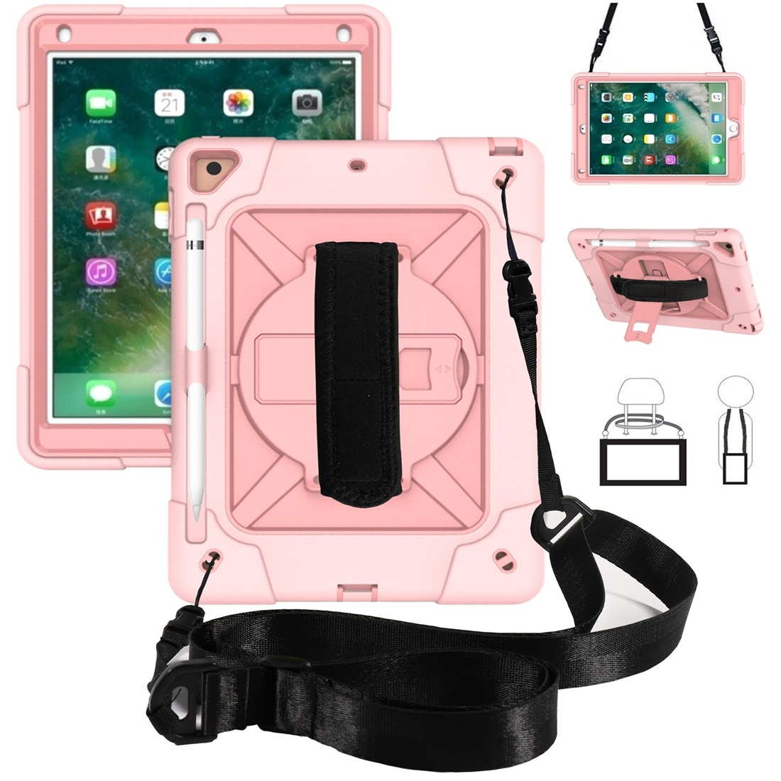 iPad 9.7 Case Contrasting Color Tough Durable Armor Case (Rose Gold)
