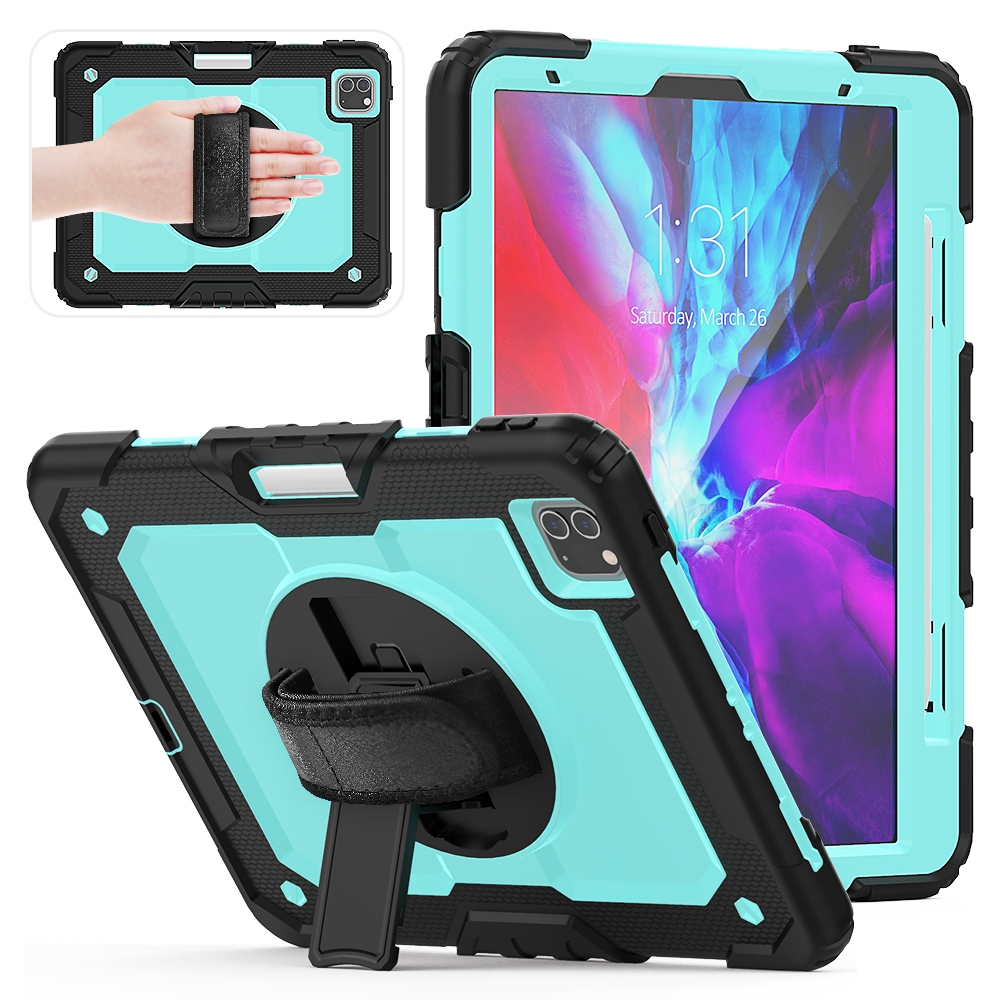 Shockproof Protective iPad Pro 11 Case (2018) with Shoulder Strap & Pen Slot (Blue)