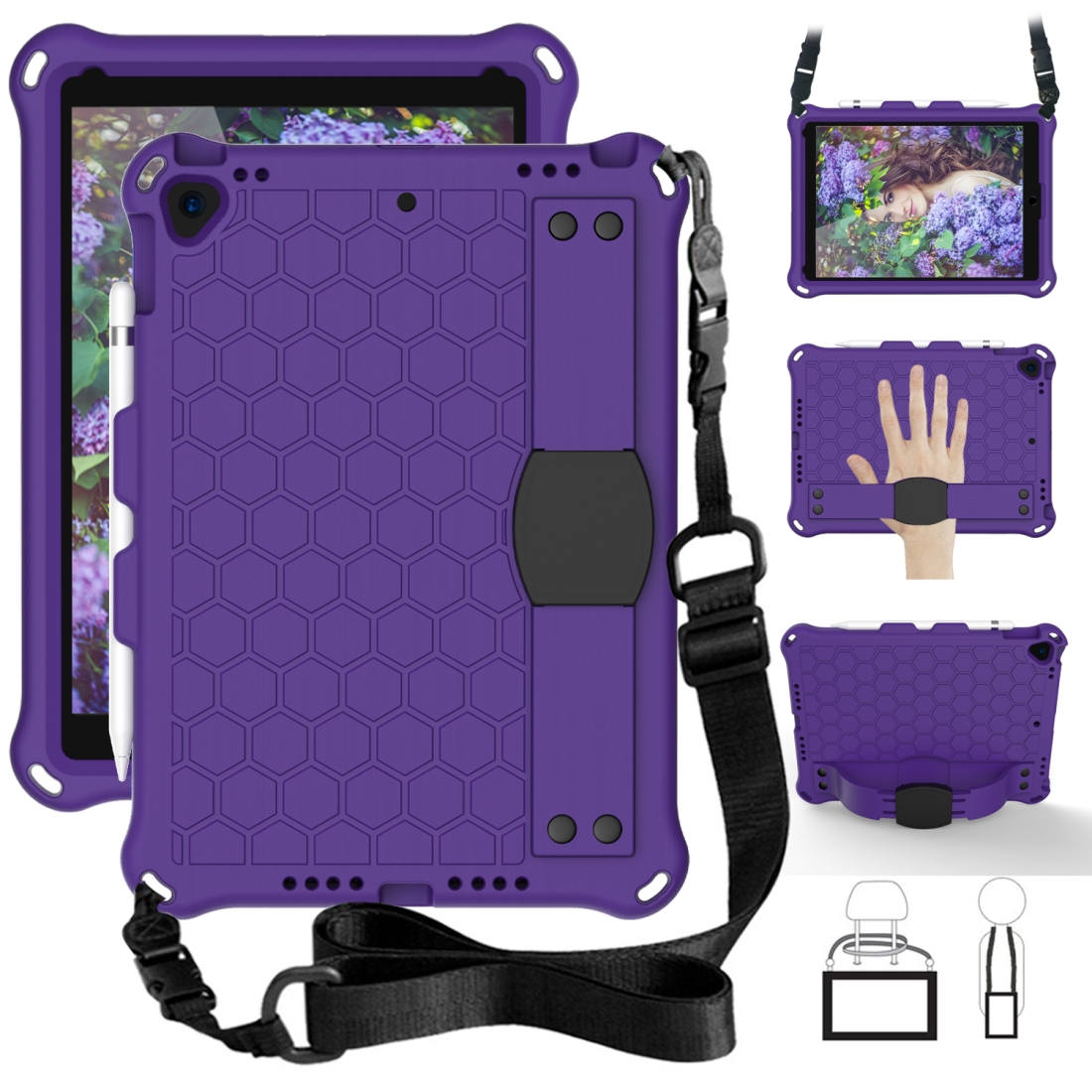 iPad Air 2 Case (2019)/ 10.5 Honeycomb Design Four Corner Protective Shell + Straps (Purple/Black)
