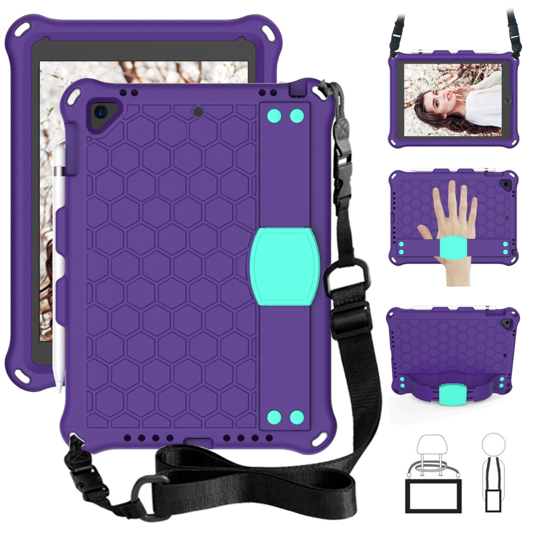iPad 9.7 Case 2017/2018 Honeycomb Design Four Corner Protective Shell With Straps (Purple/Mint)