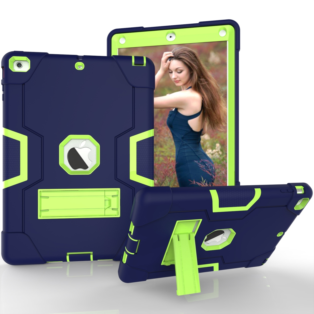 iPad Air Cover Featuring Contrasting Colors In A Tough Durable Protective Armor Case (Navy/Olivine)