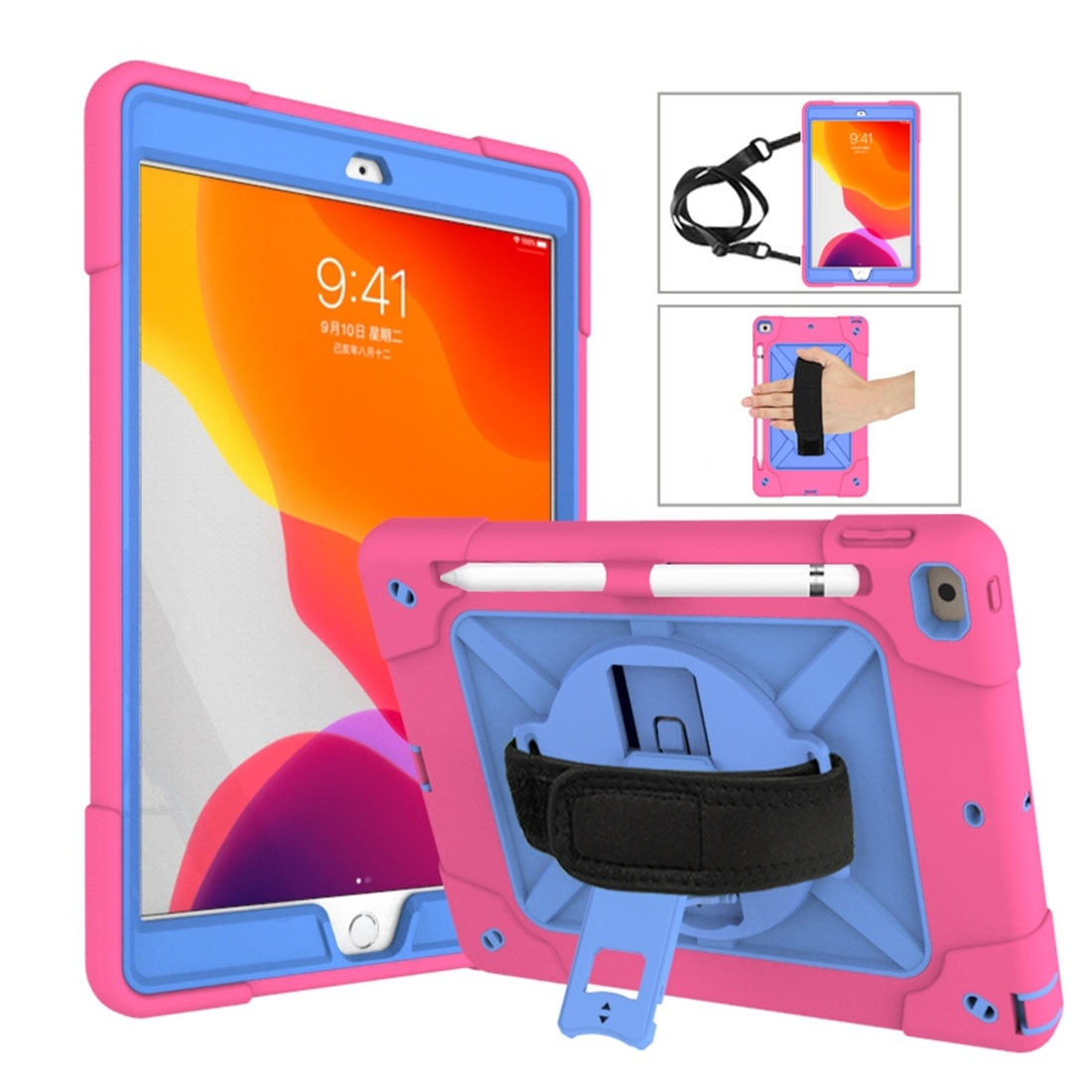 iPad 7th Generation Case (10.2 Inch) Contrasting Color Tough Durable Armor Case (Rose Red/Blue)