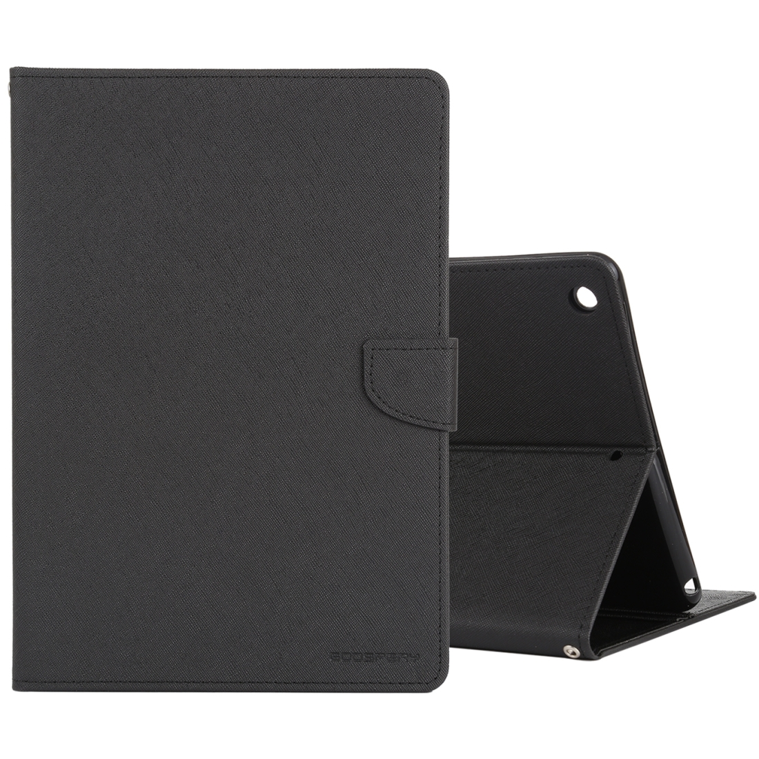 iPad 7th Generation Case (10.2 Inch) Cross Texture Leather Case with Sleeve & Holder (Black)