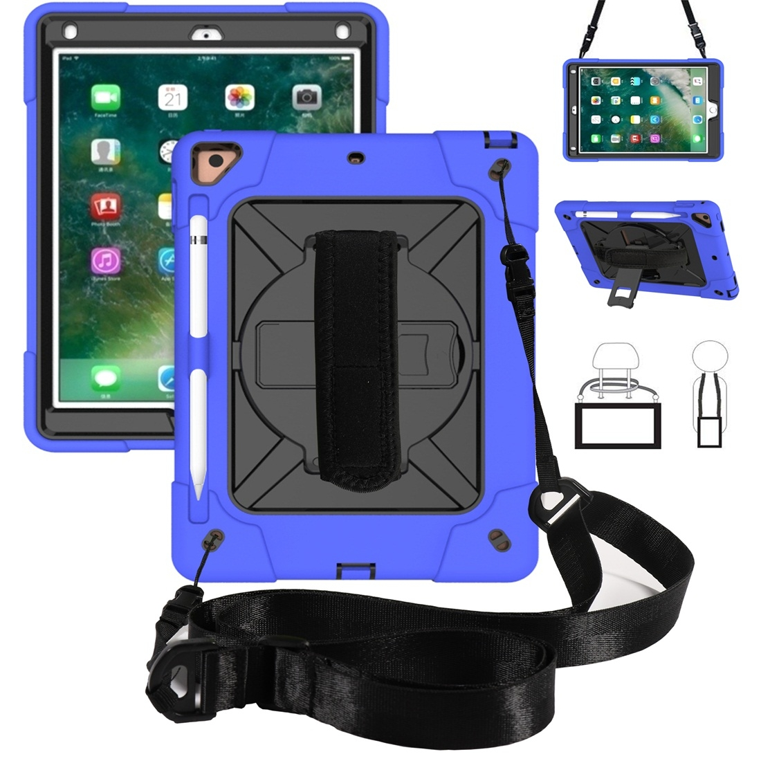 iPad 9.7 Case Contrasting Color Tough Durable Armor Case (Dark Blue/Black)