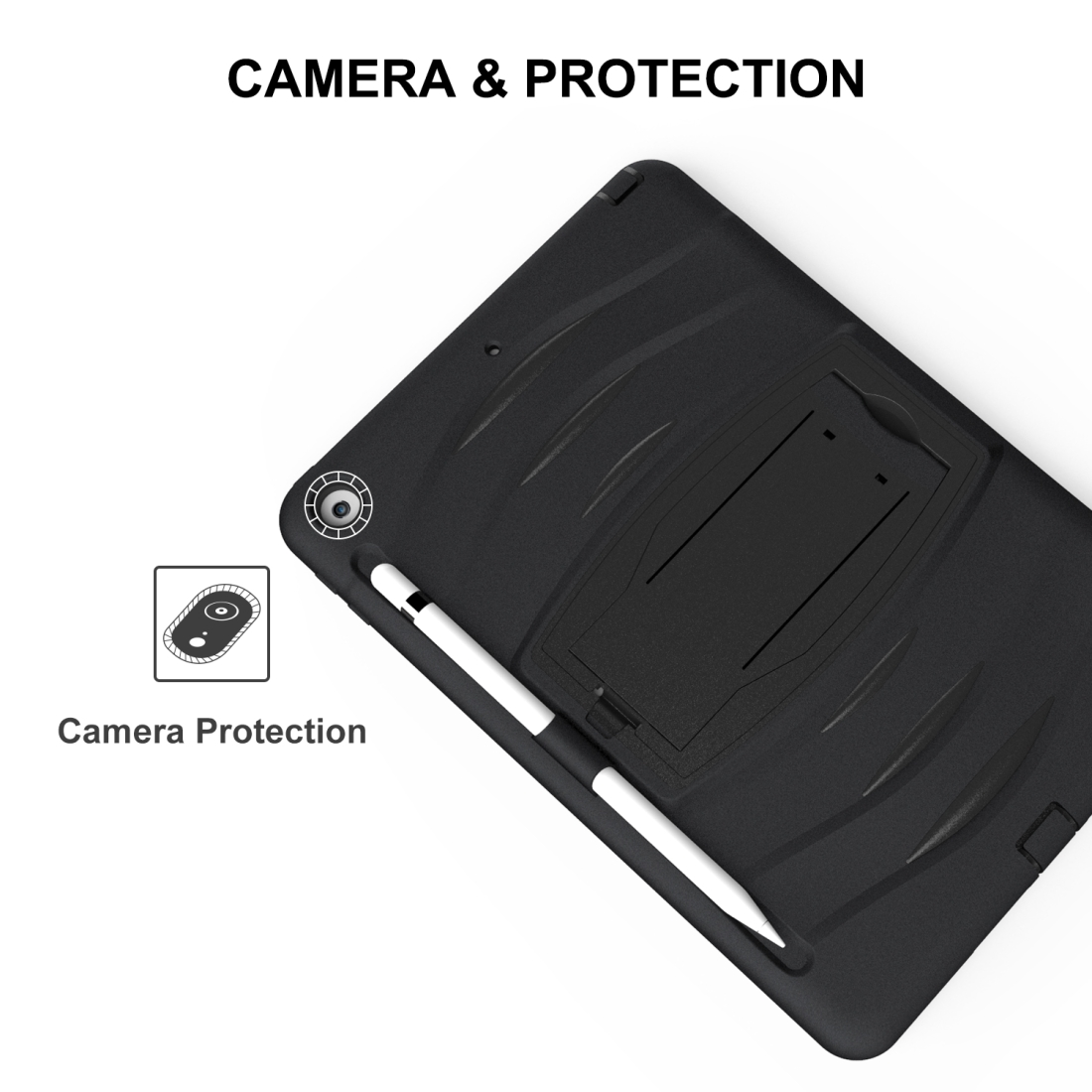 iPad 7th Generation Case (10.2 Inch), Rotating Protective Case with Hand-strap (Black)
