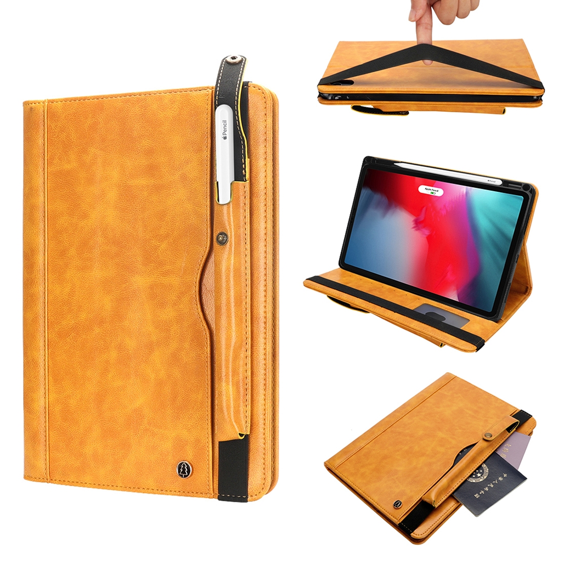 Hide Textured Leather iPad Pro 11 Case (2018), With Pen Holder  Slot (Yellow)