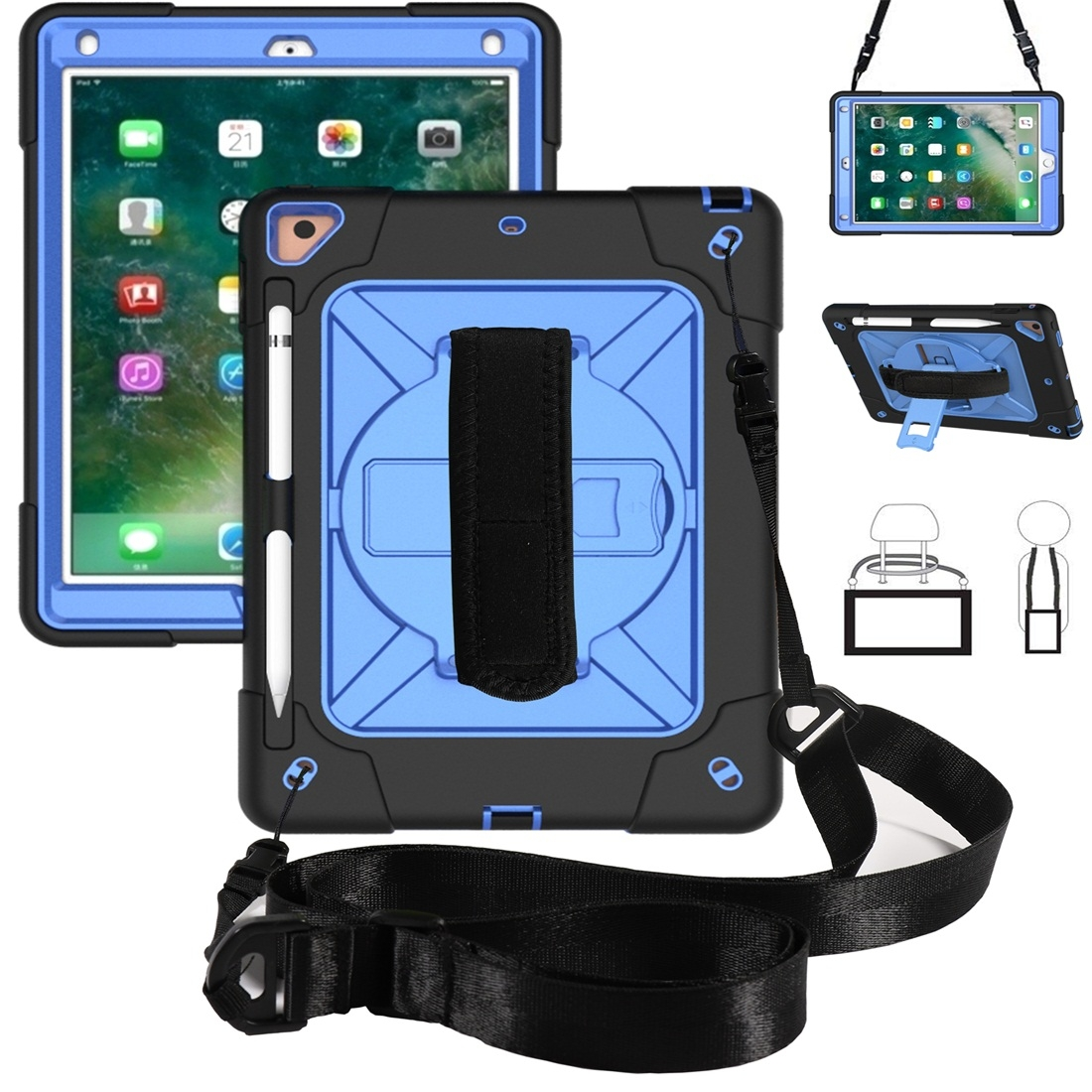 iPad 9.7 Case Contrasting Color Tough Durable Armor Case (Black/Blue)