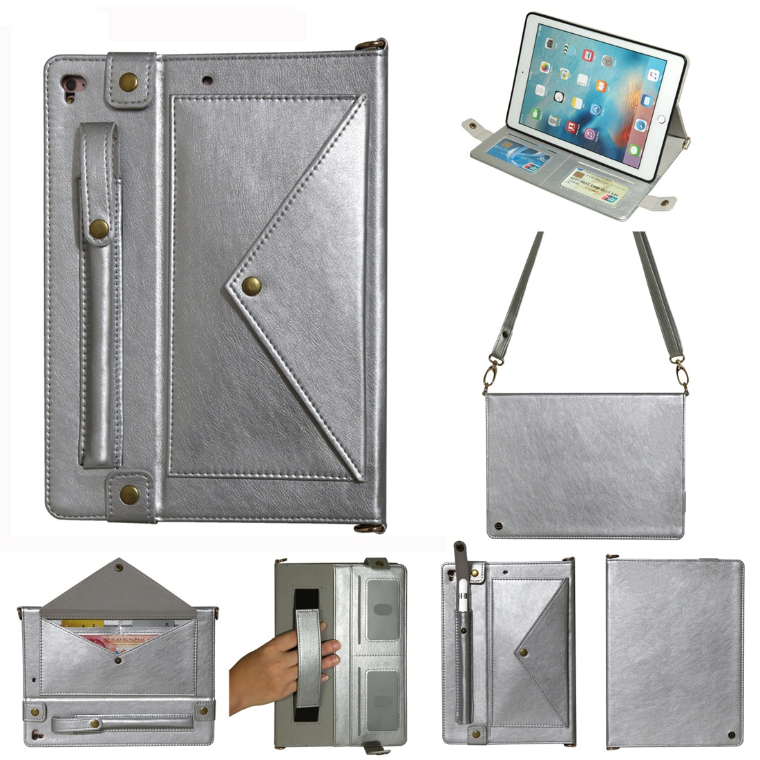Leather iPad 9.7 Case (2018)/(2017), Air/ Air 2/ Pro 9.7 inch, Pen Holders & Strap (Silver)