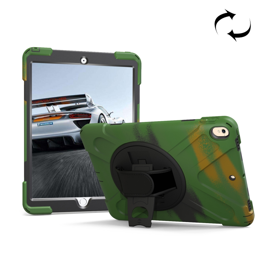 iPad Air 3 Case (10.5 Inch) Rotating Protective Case with Hand-strap (Camouflage Green)
