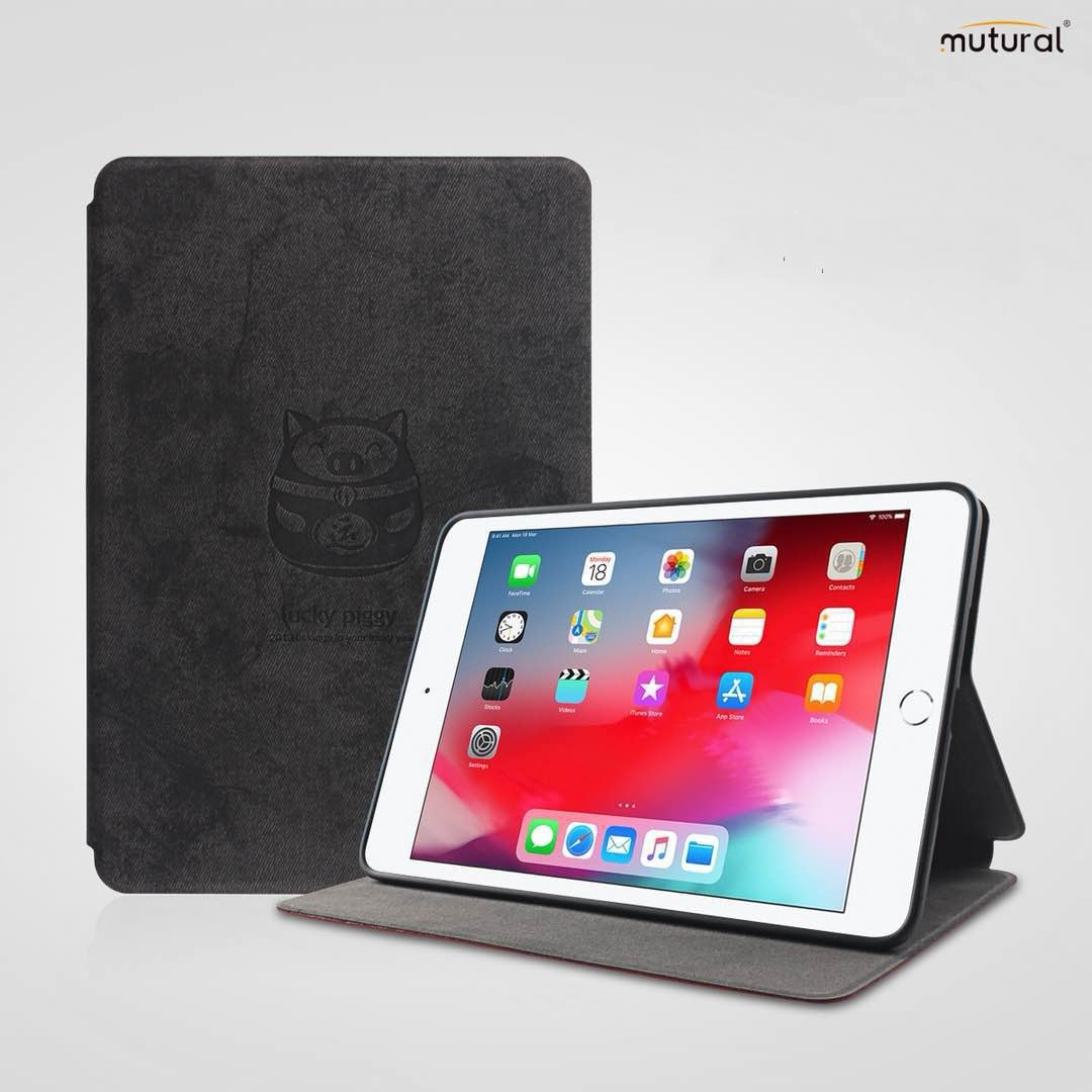 Mutural Lucky Pig Series Durable/Leather iPad Air 3 Case (10.5 Inch), (Black)