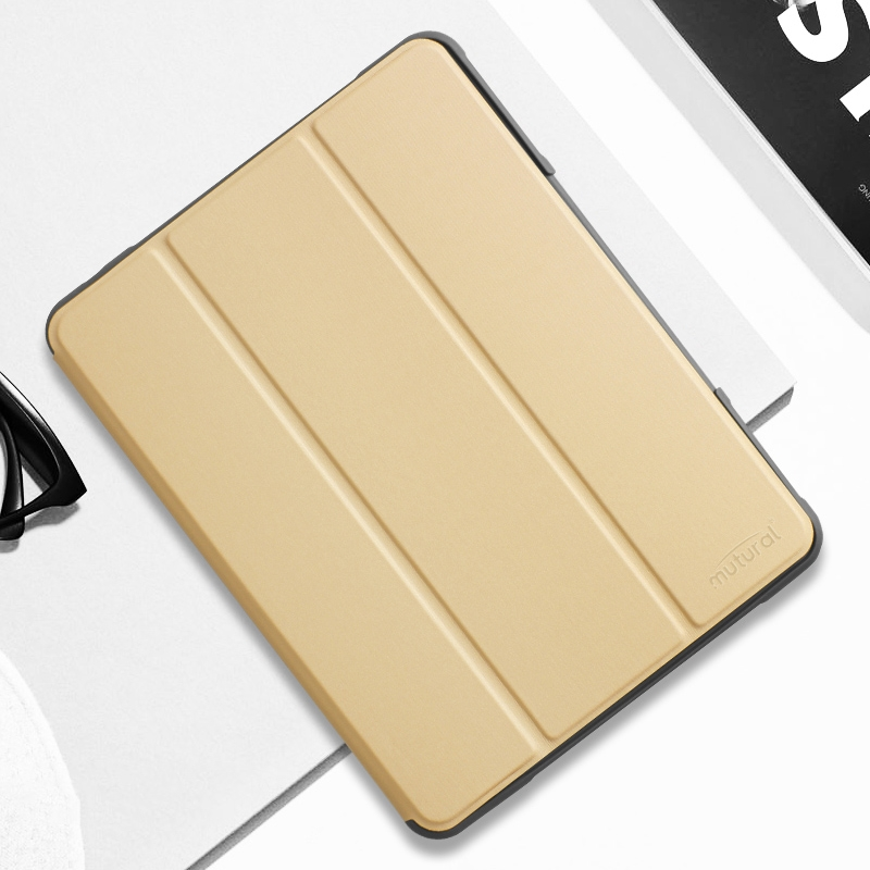 iPad Air 3 Case (10.5 Inch) Protective Durable Leather Case with Pen Holder (Gold)
