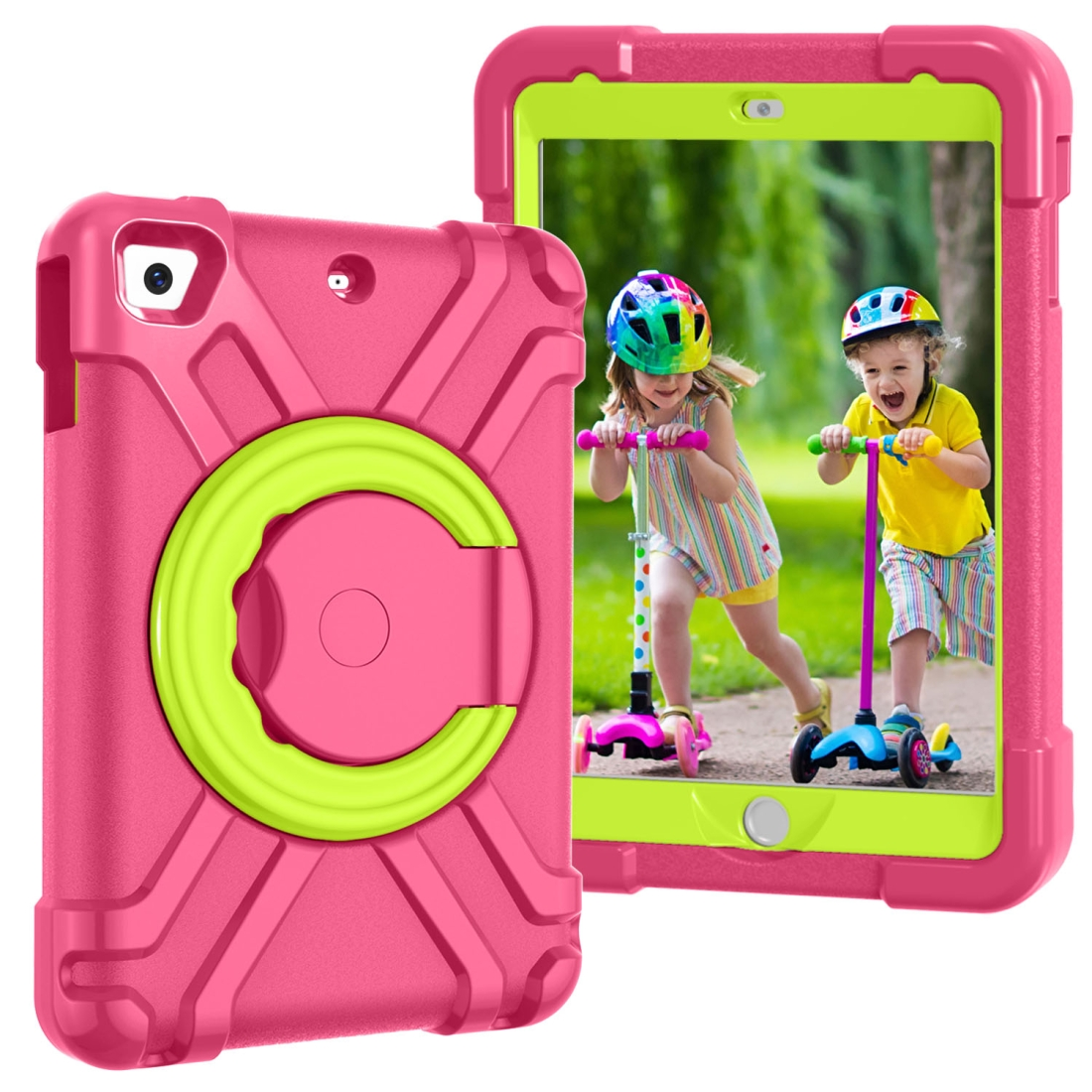 iPad Mini Case For Kids, Fits iPad Mini & Mini 2 & 3, Durable Protective Case (Rose Red/Grass Green)