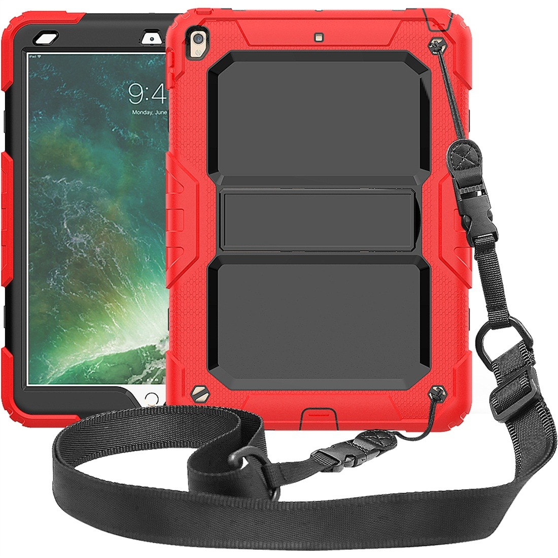 Shockproof Protective And Durable iPad Air Case (10.5 Inch), with Shoulder Strap (Red)