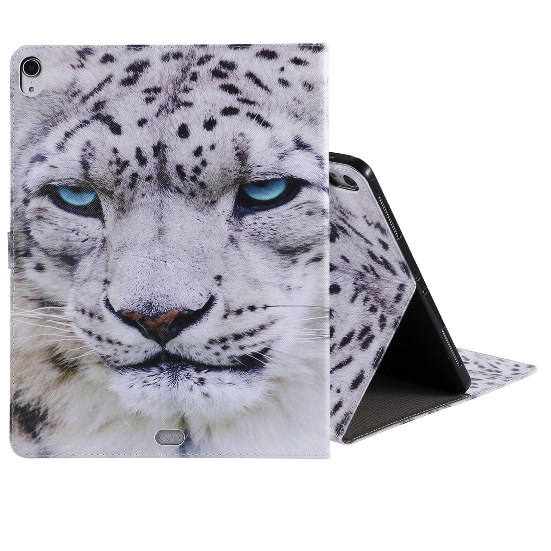 iPad Pro 12.9 Case (2018) Leather Case, With Sleeve (White Panther)