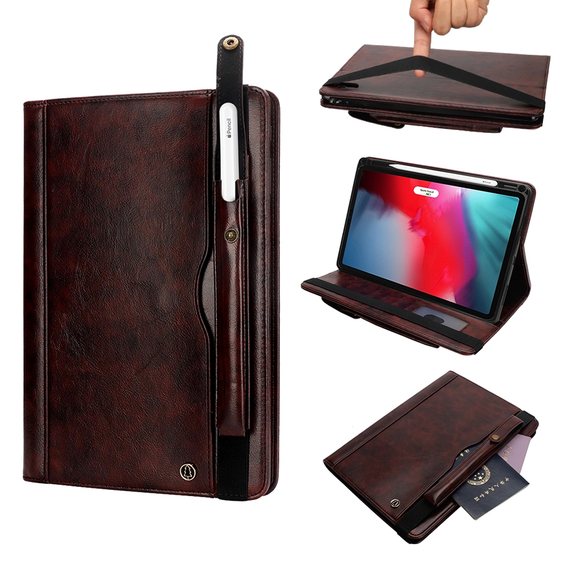 Hide Textured Leather iPad Pro 11 Case (2018), With Pen Holder  Slot (Dark Brown)