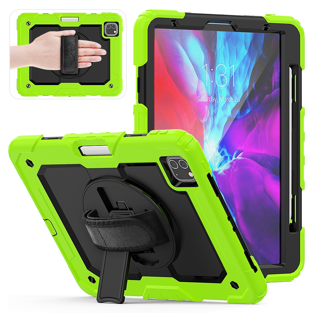 Shockproof Protective iPad Pro 11 Case (2018), w/ Shoulder Strap & Pen Holder (Green)
