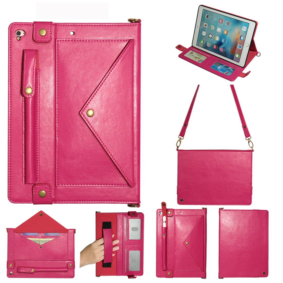 Leather iPad 9.7 Case (2018)/(2017), Air/ Air 2/ Pro 9.7 inch, Pen Holders, Strap (Rose)