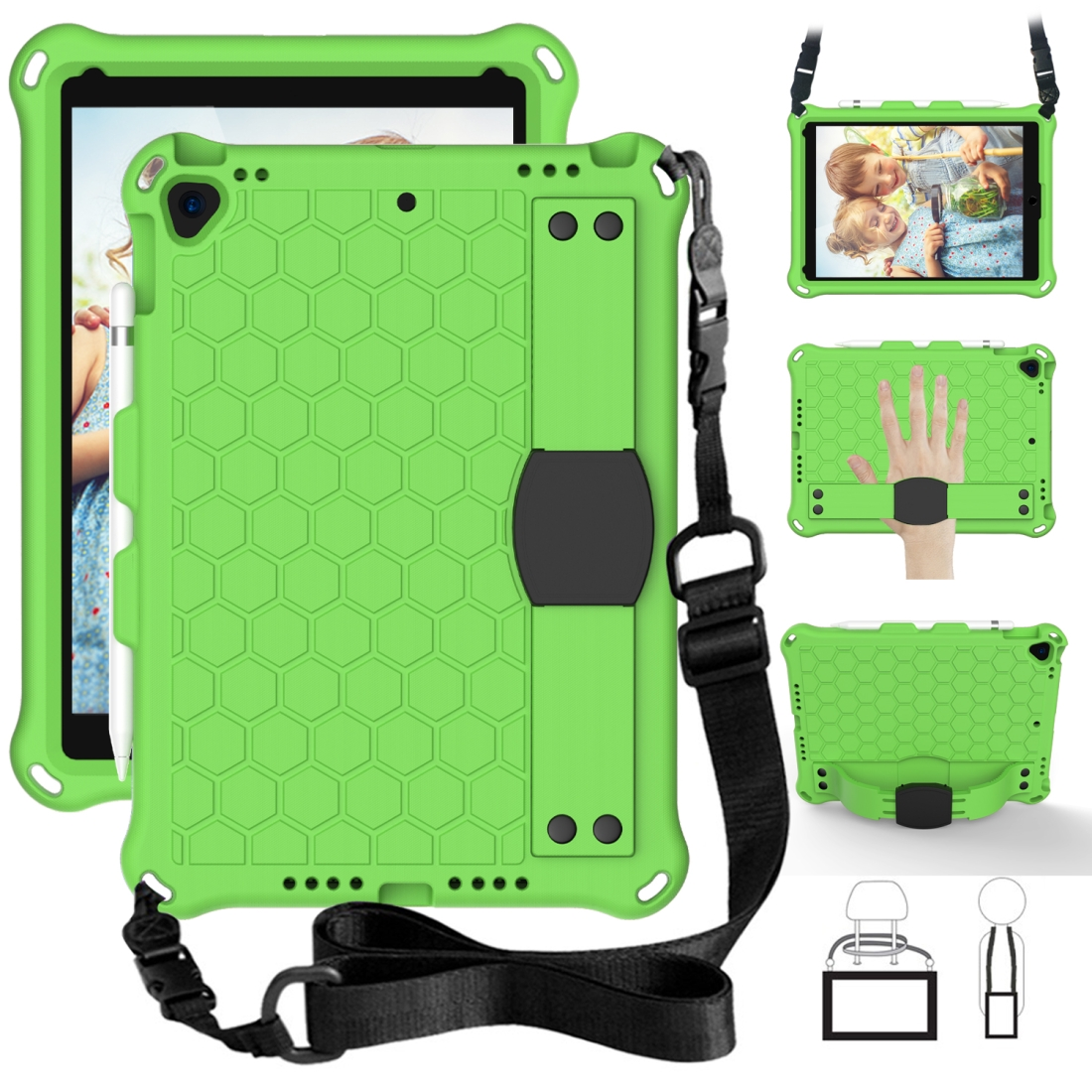 iPad Air 3 Case (10.5 Inch) Honeycomb Design Four Corner Protective Shell With Straps (Green/Black)