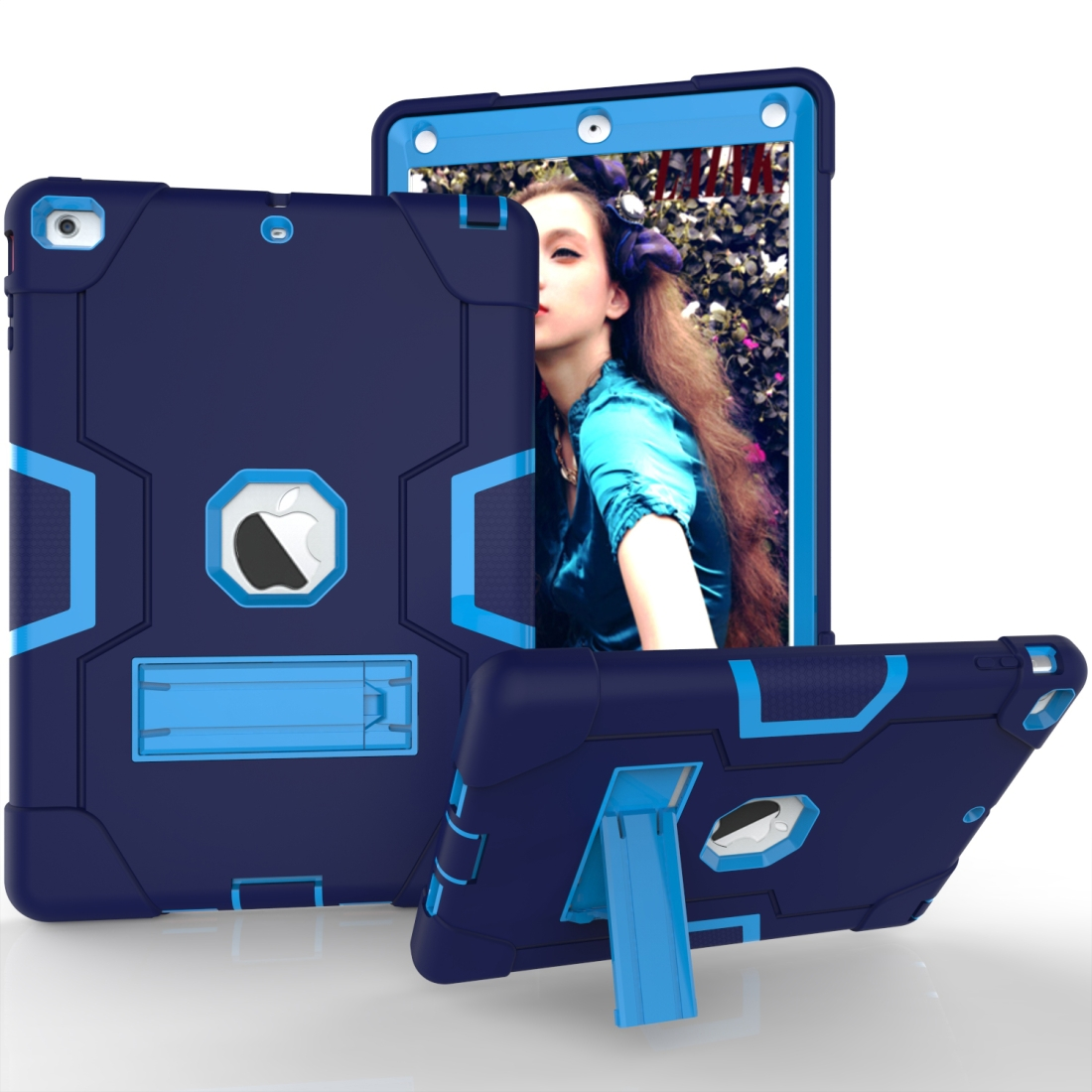 iPad Air Cover Featuring Contrasting Colors In A Tough Durable Protective Armor Case (Navy/Blue)