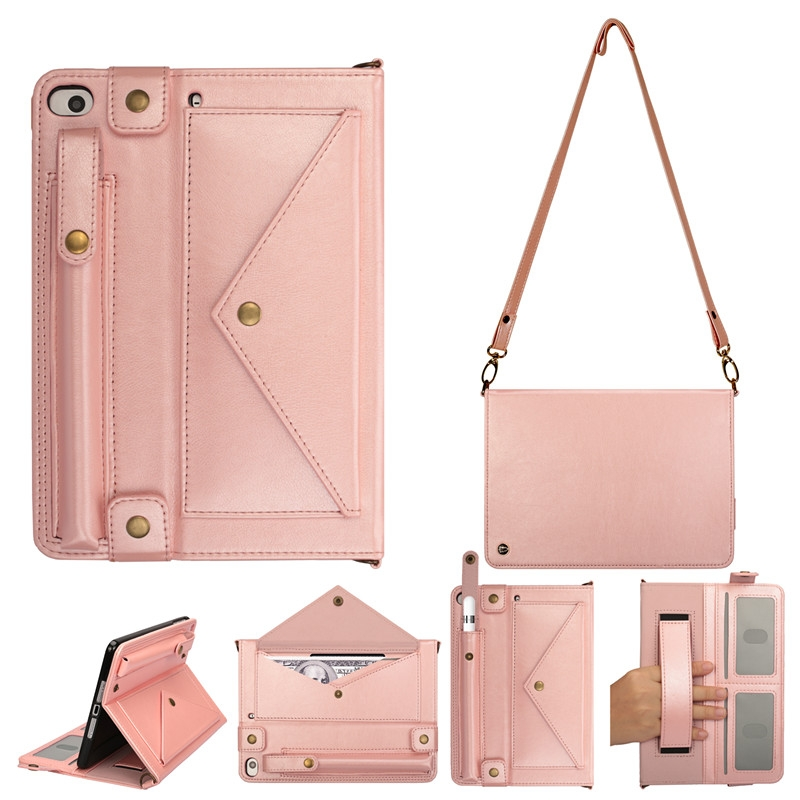 iPad Mini 5 Case For iPad 1,2,3,4 & 5, In A Protective Leather Cover, & Shoulder Strap (Rose Gold)