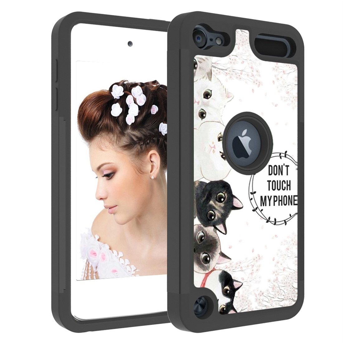Colorful  Design PC/Protective Durable Casing for iPod touch 5/ 6/ 7 (2019) (Five Cats)