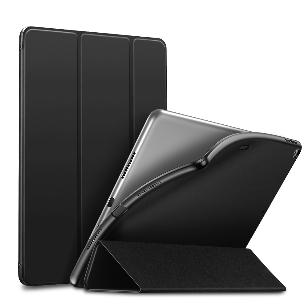 Slim Fit Leather/Soft Durable iPad Air 2 Case (10.5 Inch), with Tri-Fold & Auto Sleep (Black)