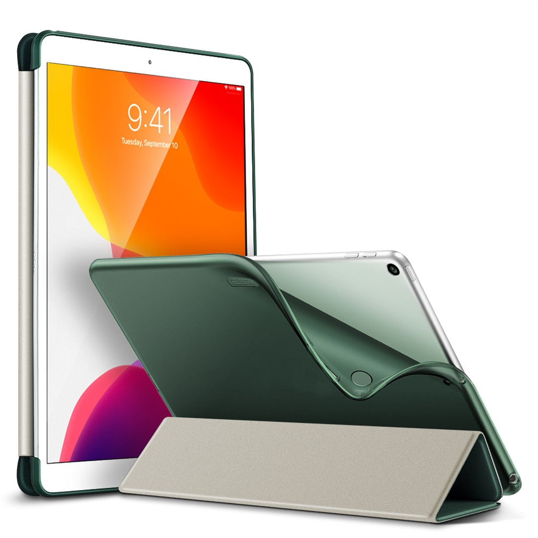 iPad 7th Generation Case (10.2 Inch) Features A Designer Style Leather Cover & Auto Sleep (Green)