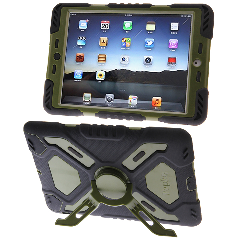 iPad Mini Case With Dual Layer Silicone/Plastic Combination Case with Sticker (Green)