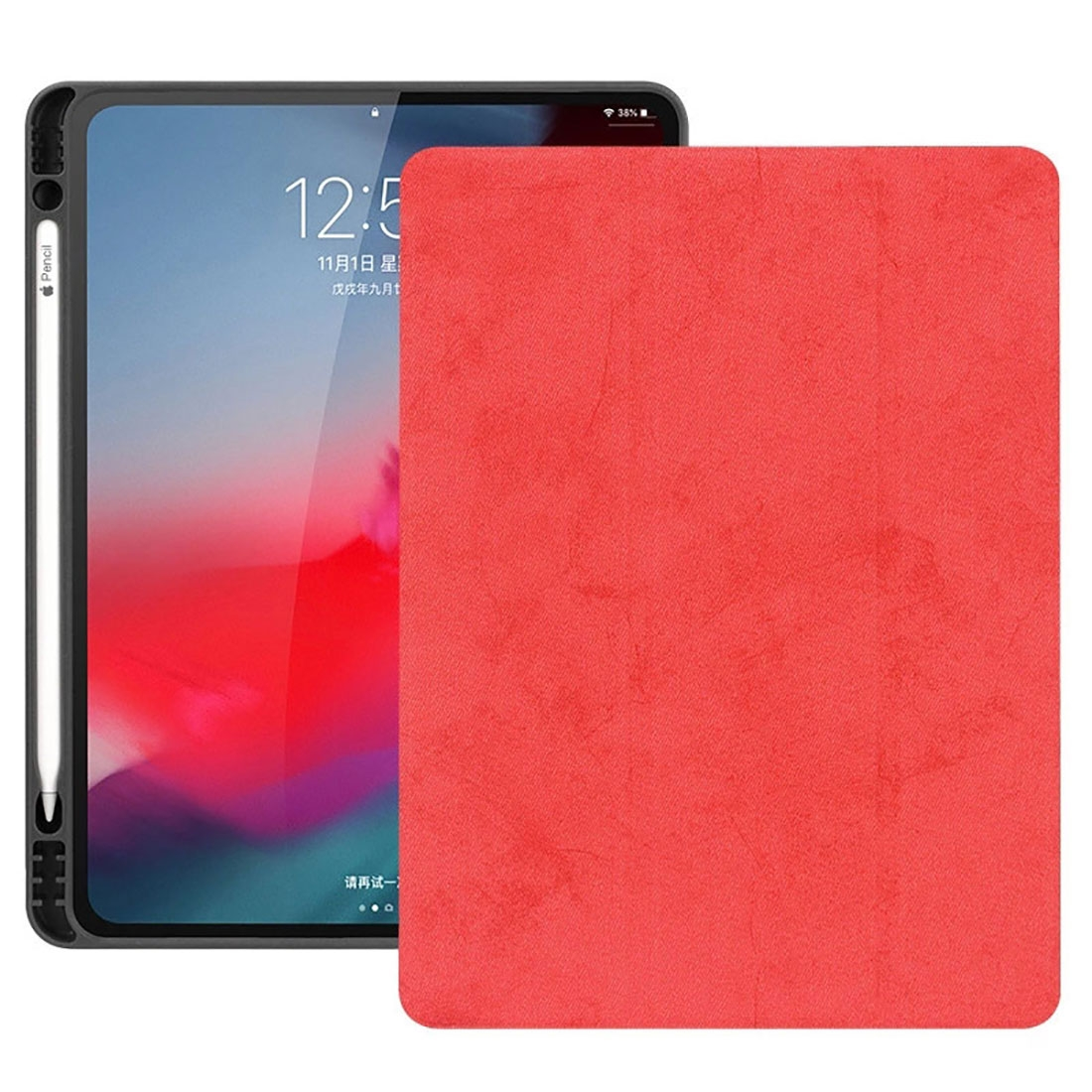 Leather iPad Pro 12.9 Case With Pen Holder, Tri-Fold Stand, Auto Wake/Sleep Functions (2018) (Red)