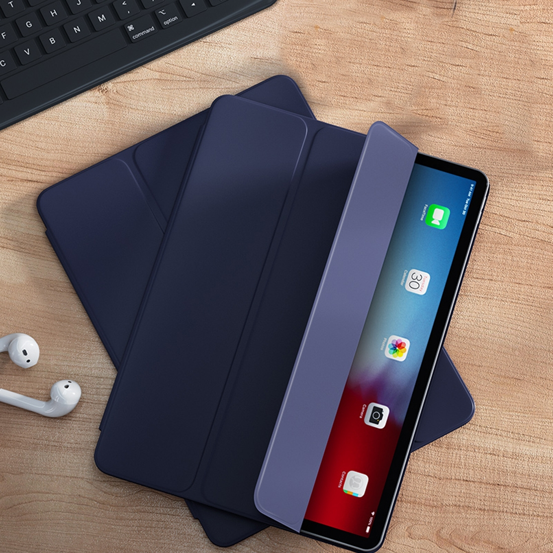 Leather iPad Pro 11 Case (2018) Benks Magnetic Closure With Auto Sleep (Blue)
