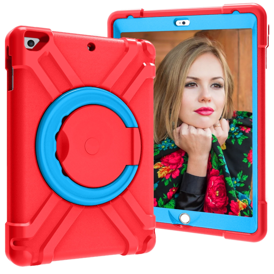 iPad Air Kids Case For iPad Air, Air 2 & iPad Pro 9.7, Durable Protective Case (Red/Blue)