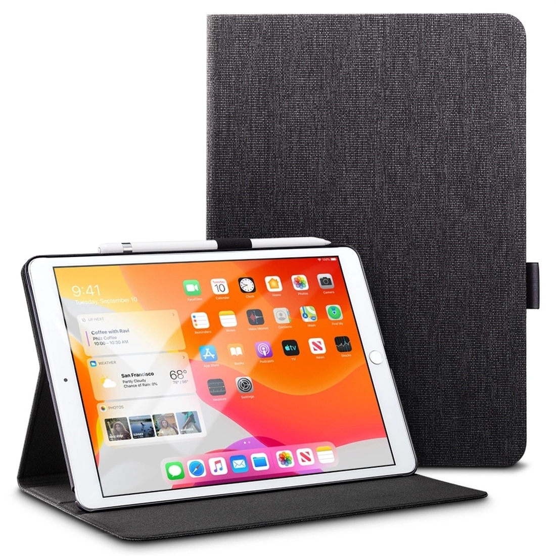 iPad 7th Generation Case (10.2 Inch) Trendy Leather Case w/Pen Holder & Auto Sleep (Black)
