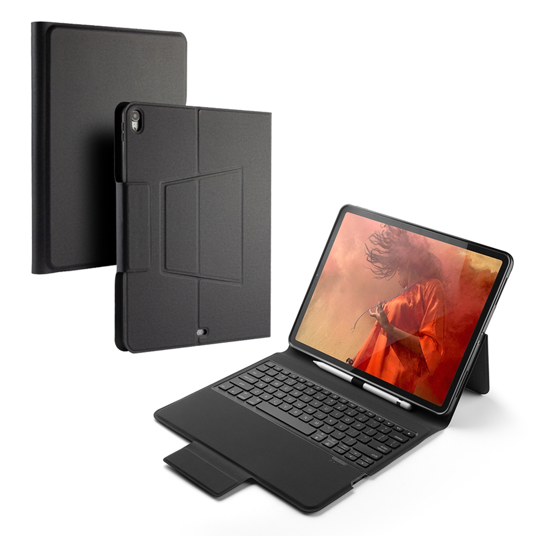 iPad Pro 12.9 Case With Keyboard & Backlite With Leather Flip Case for iPad Pro 12.9 (2018) (Black)