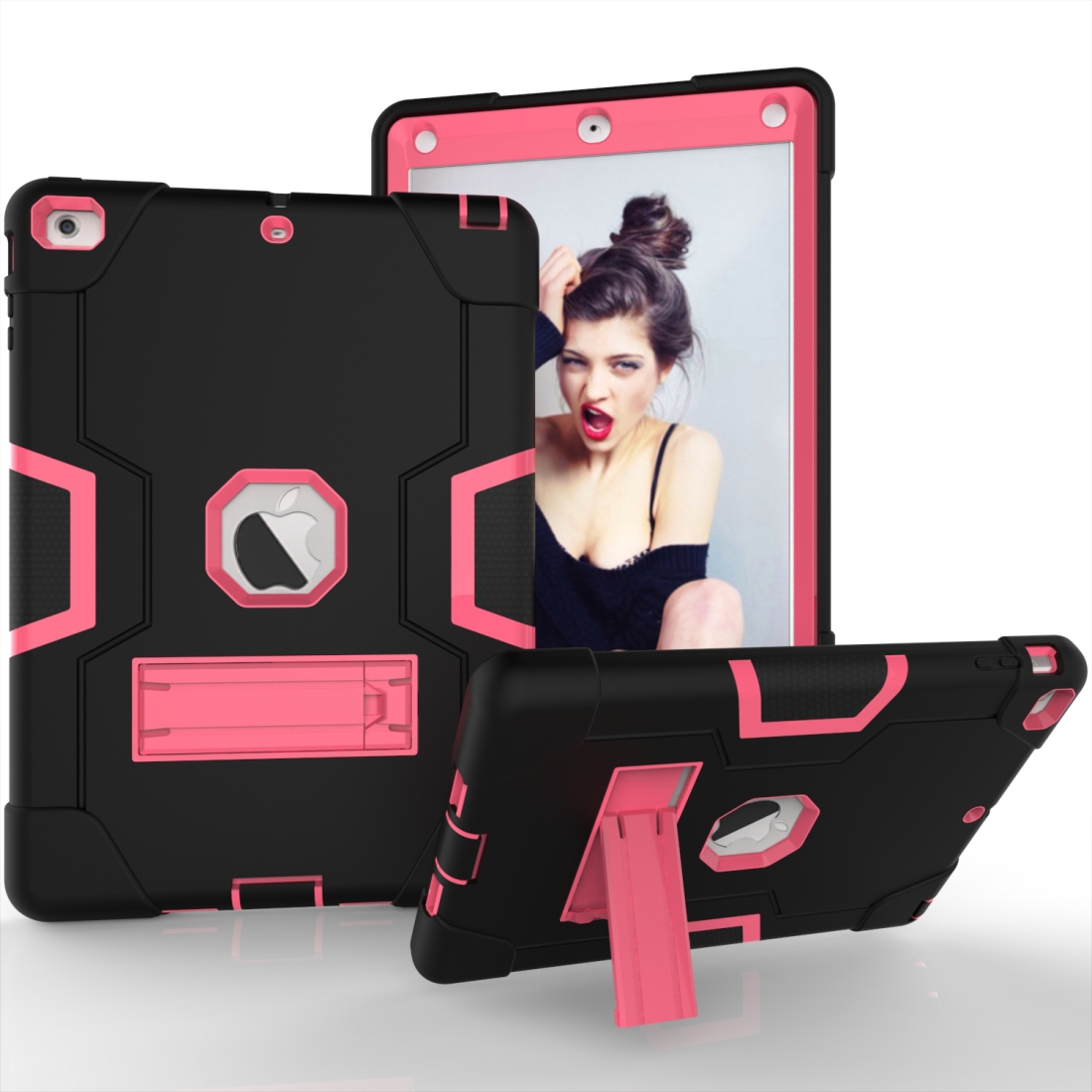 iPad Air Cover Featuring Contrasting Colors In A Tough Durable Protective Armor Case (Black/Rose)