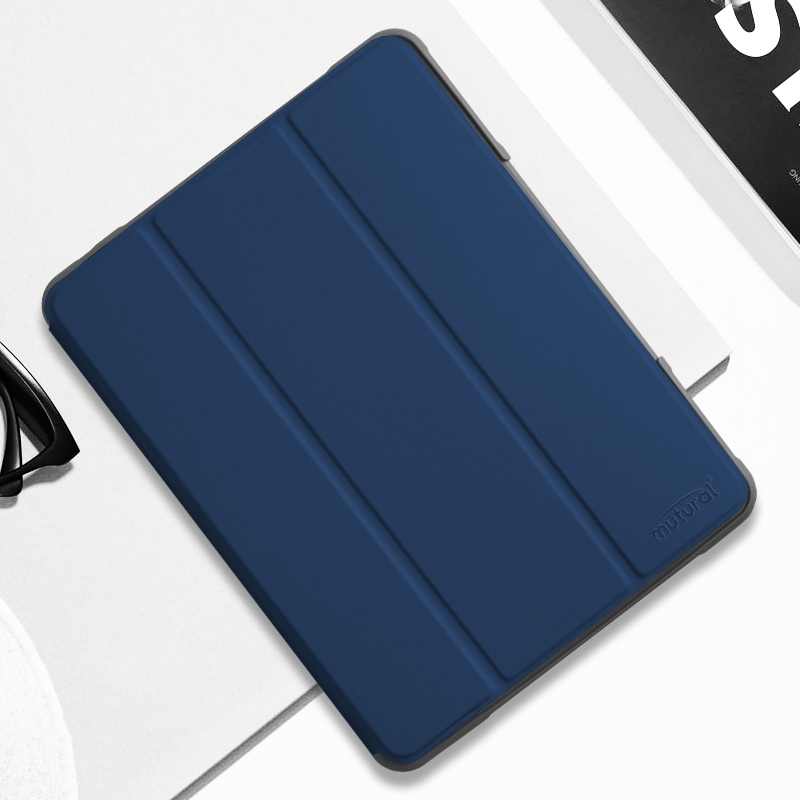 iPad 7th Generation Case (10.2 Inch) Mutural Leather Protective Case with Pencil Holder (Blue)