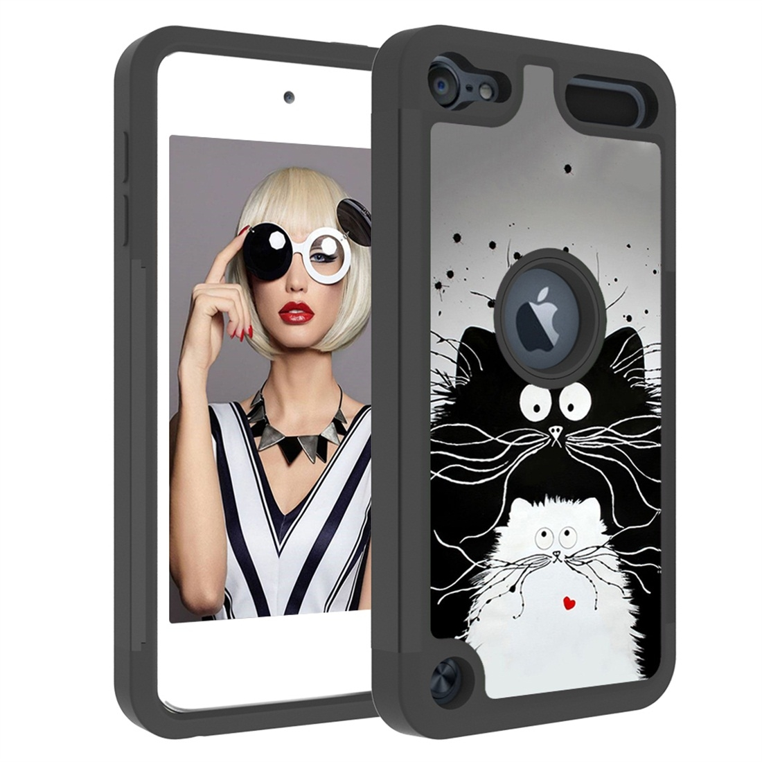 Colorful  Design PC/Protective Durable Casing for iPod touch 5/ 6/ 7 (2019) (Black and White Cats)