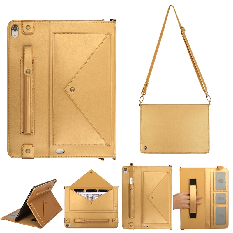 Leather iPad Pro 12.9 Case (2018) With Slim Profile, Photo Frame & Shoulder Strap (Gold)