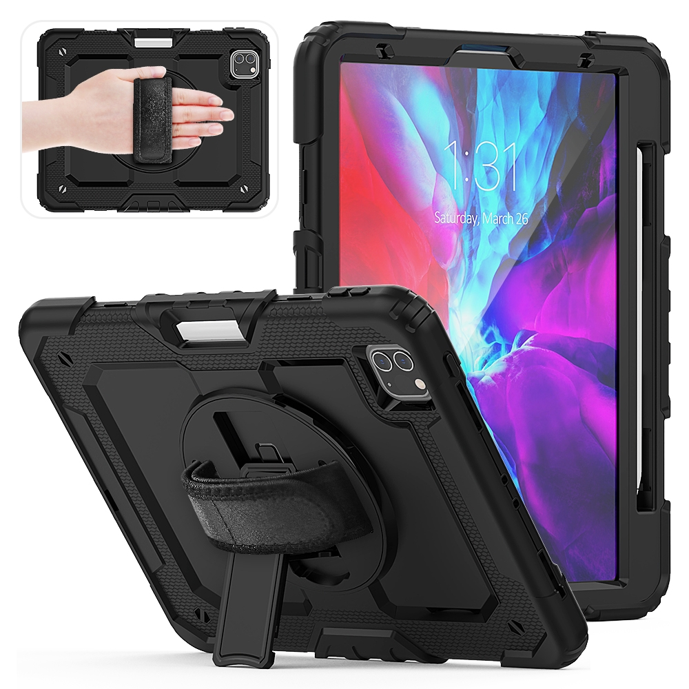 Shockproof Protective iPad Pro 11 Case (2018), w/ Shoulder Strap & Pen Holder (Black)