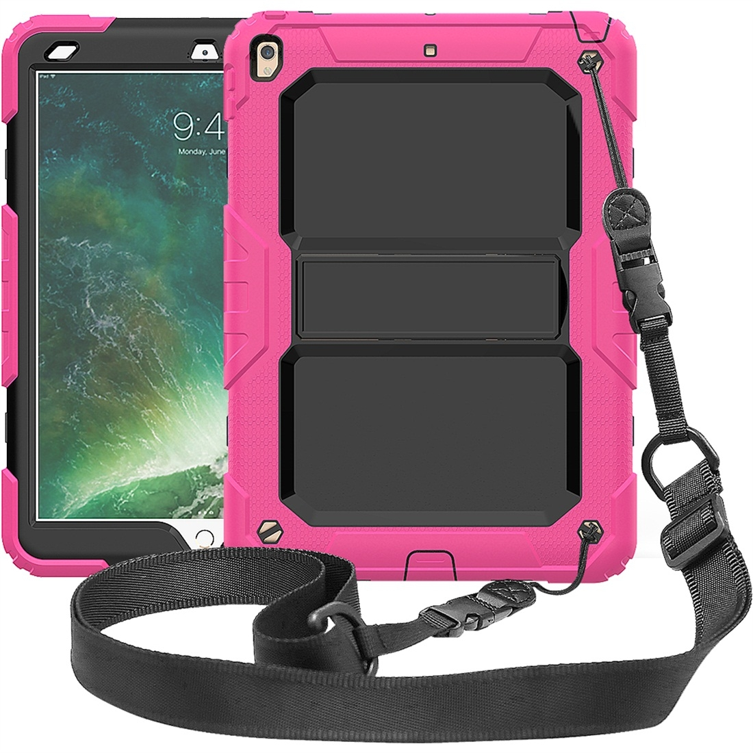 Shockproof  Protective And Durable iPad Air Case (10.5 Inch), with Shoulder Strap (Rose Red)