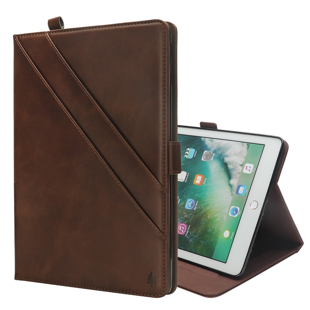 Bi-Stand Leather iPad Pro 12.9 Inch Case (2017)/ (2015) with Sleeves & Pen Holders (Dark Brown)