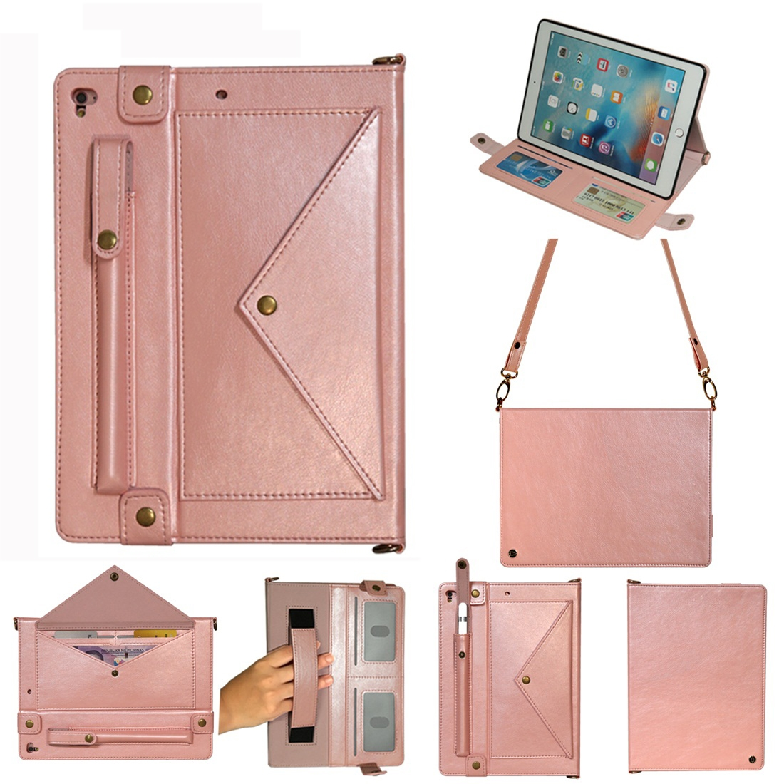 Leather iPad 9.7 Case (2018)/(2017), Air/ Air 2/ Pro 9.7 inch, With Pen Holders (Rose Gold)